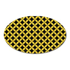 Circles3 Black Marble & Yellow Colored Pencil (r) Oval Magnet