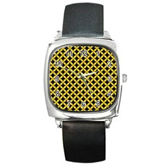 Circles3 Black Marble & Yellow Colored Pencil (r) Square Metal Watch