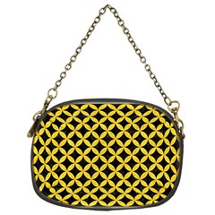 Circles3 Black Marble & Yellow Colored Pencil (r) Chain Purses (one Side)