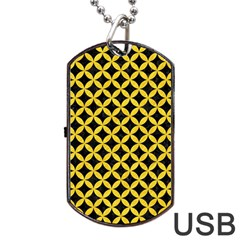 Circles3 Black Marble & Yellow Colored Pencil (r) Dog Tag Usb Flash (two Sides)