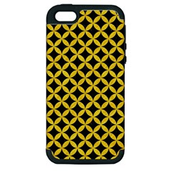 Circles3 Black Marble & Yellow Colored Pencil (r) Apple Iphone 5 Hardshell Case (pc+silicone)