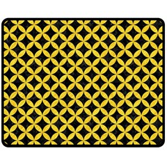 Circles3 Black Marble & Yellow Colored Pencil (r) Double Sided Fleece Blanket (medium)