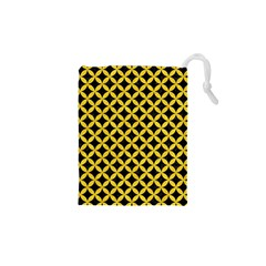 Circles3 Black Marble & Yellow Colored Pencil (r) Drawstring Pouches (xs)