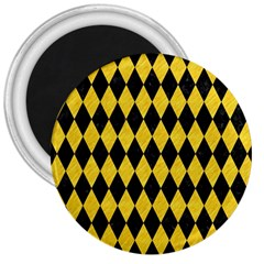 Diamond1 Black Marble & Yellow Colored Pencil 3  Magnets