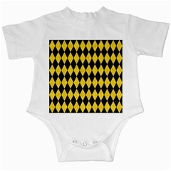 Diamond1 Black Marble & Yellow Colored Pencil Infant Creepers
