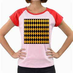 Diamond1 Black Marble & Yellow Colored Pencil Women s Cap Sleeve T Shirt