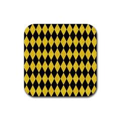Diamond1 Black Marble & Yellow Colored Pencil Rubber Coaster (square)