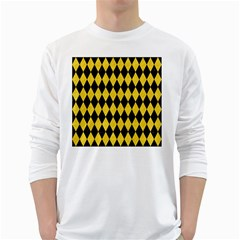 Diamond1 Black Marble & Yellow Colored Pencil White Long Sleeve T Shirts