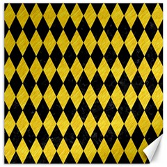 Diamond1 Black Marble & Yellow Colored Pencil Canvas 20  X 20