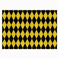 Diamond1 Black Marble & Yellow Colored Pencil Large Glasses Cloth (2 Side)