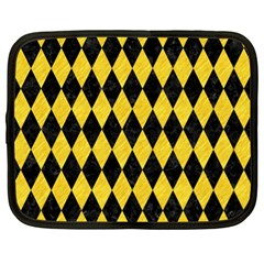Diamond1 Black Marble & Yellow Colored Pencil Netbook Case (xl)