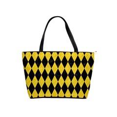 Diamond1 Black Marble & Yellow Colored Pencil Shoulder Handbags