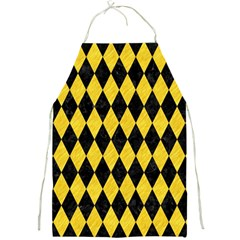 Diamond1 Black Marble & Yellow Colored Pencil Full Print Aprons