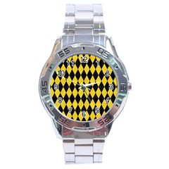 Diamond1 Black Marble & Yellow Colored Pencil Stainless Steel Analogue Watch