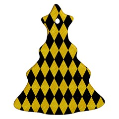 Diamond1 Black Marble & Yellow Colored Pencil Christmas Tree Ornament (two Sides)