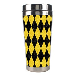 Diamond1 Black Marble & Yellow Colored Pencil Stainless Steel Travel Tumblers