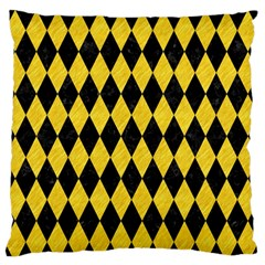 Diamond1 Black Marble & Yellow Colored Pencil Large Flano Cushion Case (two Sides)
