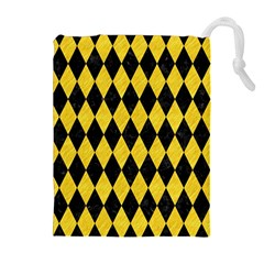 Diamond1 Black Marble & Yellow Colored Pencil Drawstring Pouches (extra Large)