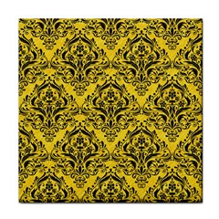 Damask1 Black Marble & Yellow Colored Pencil Tile Coasters