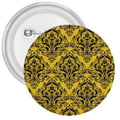 Damask1 Black Marble & Yellow Colored Pencil 3  Buttons