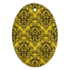Damask1 Black Marble & Yellow Colored Pencil Ornament (oval)
