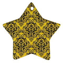 Damask1 Black Marble & Yellow Colored Pencil Ornament (star)