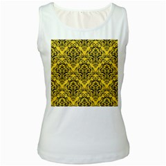 Damask1 Black Marble & Yellow Colored Pencil Women s White Tank Top