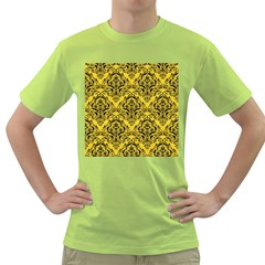 Damask1 Black Marble & Yellow Colored Pencil Green T Shirt