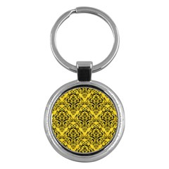 Damask1 Black Marble & Yellow Colored Pencil Key Chains (round)
