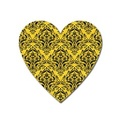 Damask1 Black Marble & Yellow Colored Pencil Heart Magnet