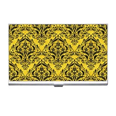 Damask1 Black Marble & Yellow Colored Pencil Business Card Holders