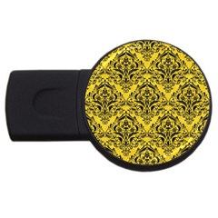 Damask1 Black Marble & Yellow Colored Pencil Usb Flash Drive Round (2 Gb)