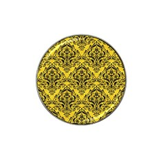 Damask1 Black Marble & Yellow Colored Pencil Hat Clip Ball Marker (4 Pack)