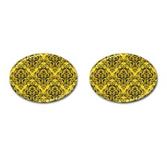 Damask1 Black Marble & Yellow Colored Pencil Cufflinks (oval)