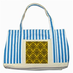 Damask1 Black Marble & Yellow Colored Pencil Striped Blue Tote Bag