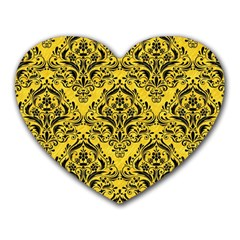 Damask1 Black Marble & Yellow Colored Pencil Heart Mousepads