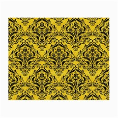 Damask1 Black Marble & Yellow Colored Pencil Small Glasses Cloth (2 Side)