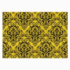 Damask1 Black Marble & Yellow Colored Pencil Large Glasses Cloth (2 Side)