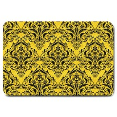 Damask1 Black Marble & Yellow Colored Pencil Large Doormat