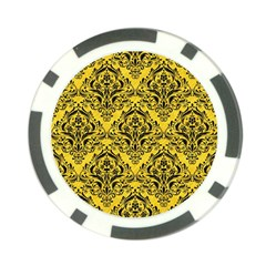 Damask1 Black Marble & Yellow Colored Pencil Poker Chip Card Guard