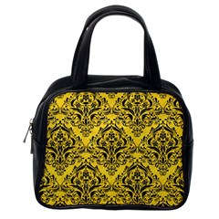 Damask1 Black Marble & Yellow Colored Pencil Classic Handbags (one Side)