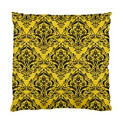 Damask1 Black Marble & Yellow Colored Pencil Standard Cushion Case (two Sides)