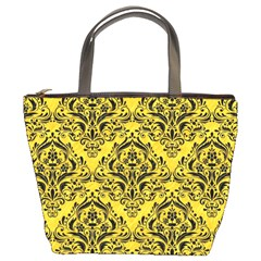 Damask1 Black Marble & Yellow Colored Pencil Bucket Bags