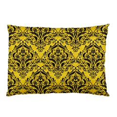 Damask1 Black Marble & Yellow Colored Pencil Pillow Case