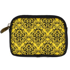 Damask1 Black Marble & Yellow Colored Pencil Digital Camera Cases