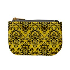 Damask1 Black Marble & Yellow Colored Pencil Mini Coin Purses