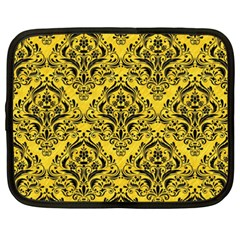 Damask1 Black Marble & Yellow Colored Pencil Netbook Case (xxl)