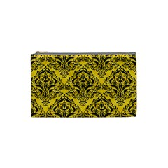 Damask1 Black Marble & Yellow Colored Pencil Cosmetic Bag (small)