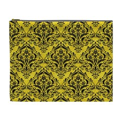 Damask1 Black Marble & Yellow Colored Pencil Cosmetic Bag (xl)