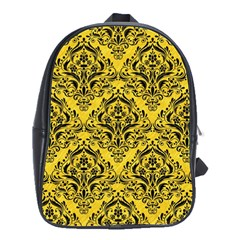 Damask1 Black Marble & Yellow Colored Pencil School Bag (large)